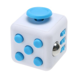 Anti Stress Fidget Cube 6 Sides White Blue