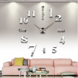 Μεγάλο Τρισδιάστατο 3D Ρολόι Modern Large 3D Wall Clock Numbers Letters DIY Silver