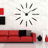 Μεγάλο Ρολόι Τοίχου 3D Hour Letters FAS1 Modern DIY Large Wall Clock Black -Do it yourself