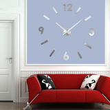 Μεγάλο Τρισδιάστατο 3D Ρολόι Modern Large 3D Wall Clock Hour Numbers DIY Silver