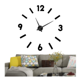Μεγάλο Τρισδιάστατο 3D Ρολόι Modern Large 3D Wall Clock Hour Numbers Do It Yourself Black