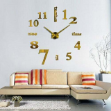 Μεγάλο 3D Ρολόι Modern Large Golden Wall Clock Numbers Letters DIY