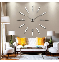 Μεγάλο Ρολόι Τοίχου 3D Hour Letters FAS1 Modern DIY Large Wall Clock Silver -Do it yourself
