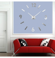 Μεγάλο Τρισδιάστατο 3D Ρολόι Modern Large 3D Wall Clock Hour Numbers Do It Yourself Silver