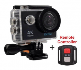 Original Eken H9R WaterProof 4K HD WiFi Action Camera Με Controller + Πλήρες Αξεσουάρ - ΜΑΥΡΗ